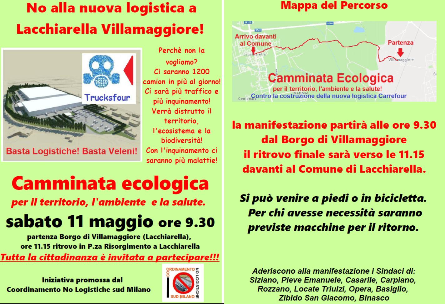 Il sabato del NO ai nuovi centri logistici camminata/biciclettata/manifestazione a Lacchiarella 11 maggio 2019